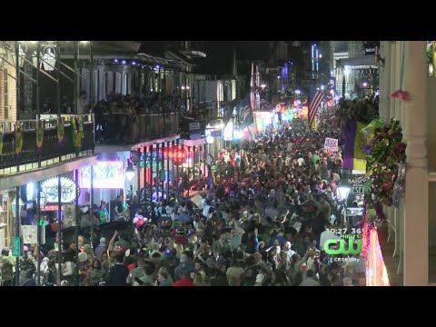 Crowds Fill Bourbon Street For Mardi Gras