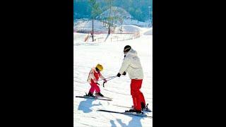 엘리시안강촌 스키장 아빠와아들 야간스키강습 완전 잘타고…