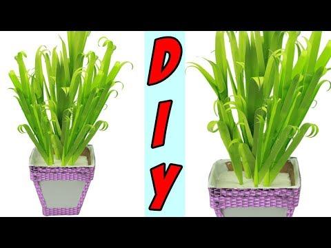 How To Make Paper Grass Easy|Make Flower Pot With Paper|DIY Home Decor Idea(Paper Grass)