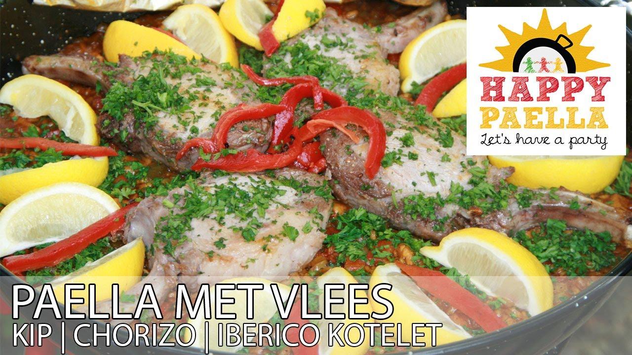 Recept Echte Spaanse Vlees Paella Met Kip Chorizo En Ibercio
