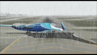 BOEING 797 FLYING WING SUPER LINER HOUSE COLORS TAKE OFF FROM SEATTLE INTL AIRPORT FS9 HD