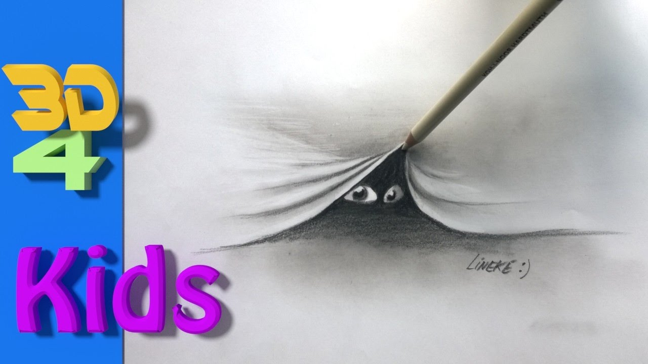 easy 3d drawing draw GHOST for kids and beginners - YouTube