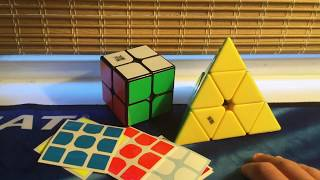 moyu tangpo 2x2 and moyu magnetic pyraminx unboxing
