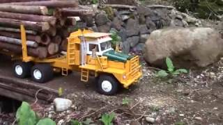 RC logging truck hauling huge load