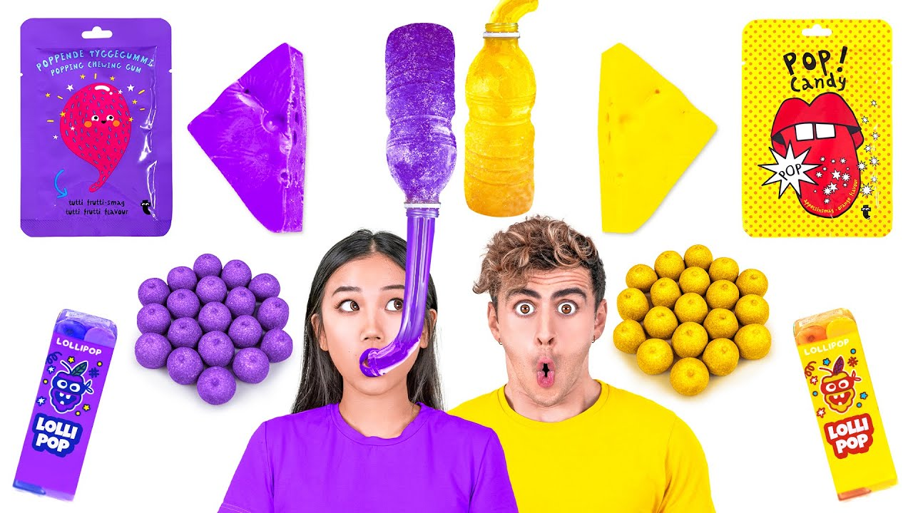 EATING ONLY ONE COLOR FOOD FOR 24 HOURS! Purple VS Yellow Mukbang by 123GO! CHALLENGE