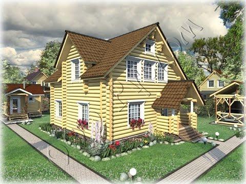Проект деревянного дома с открытой верандой Добрыня