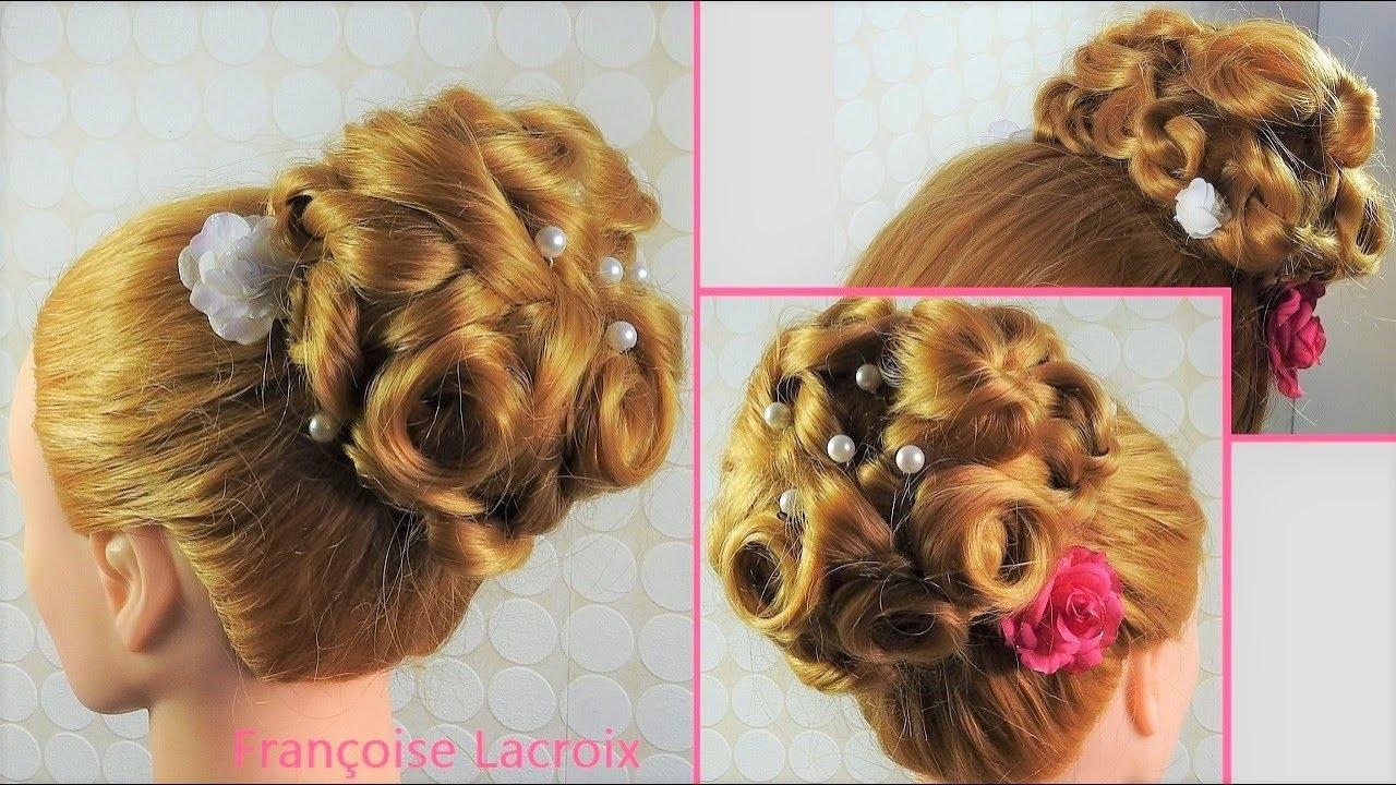 Tuto Coiffure bouclée Chignon haut Mariage Soirée | Curly Bun Hairstyle | Recogido alto con ...