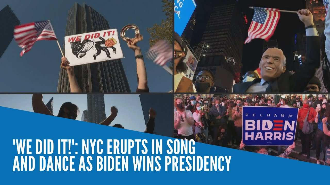 'We did it!': NYC erupts in song and dance as Biden wins presidency