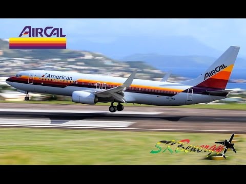 AirCal Heritage Colors - American Airlines 737-800 In Action @ St. Kitts R.L.B Int'l Airport