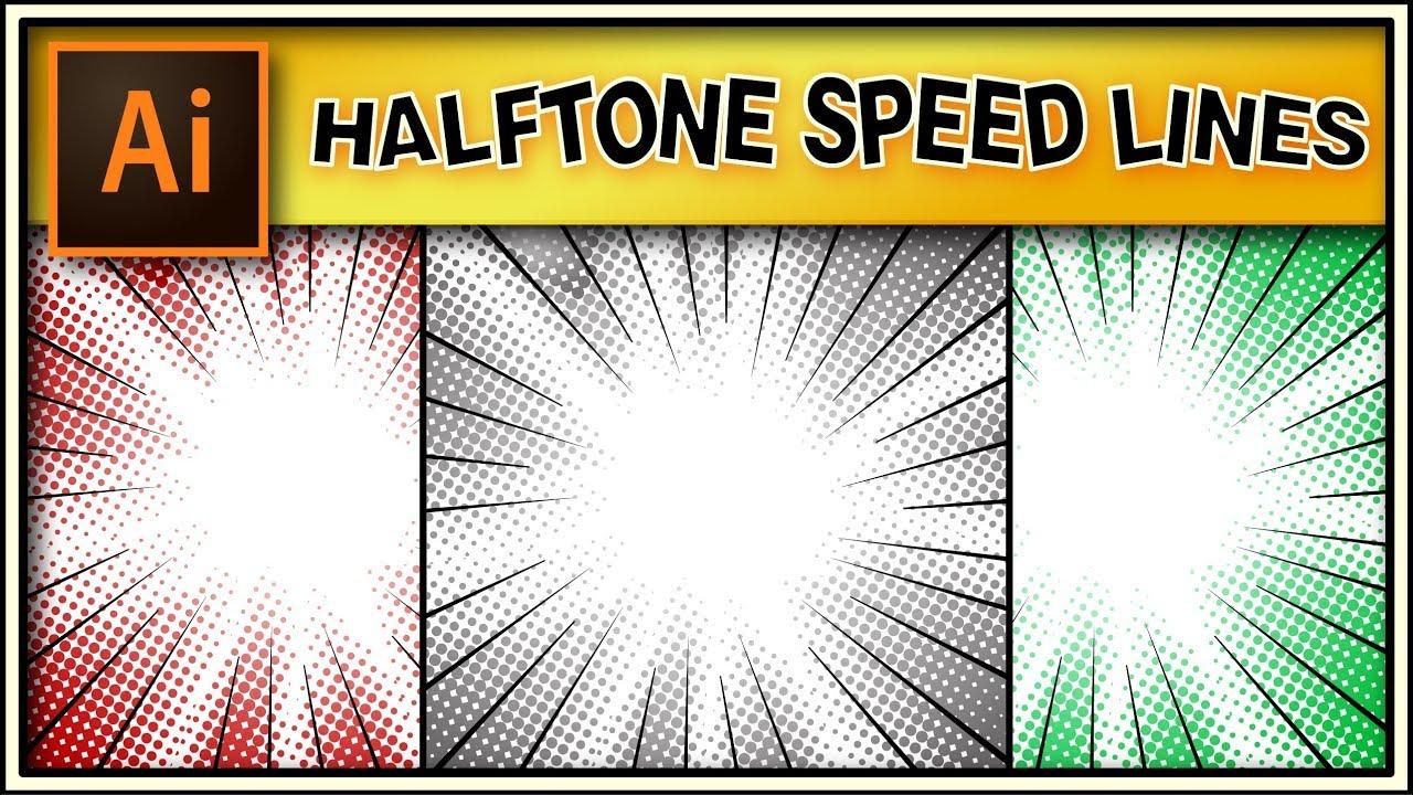 Halftone radial speed lines for comic books - Adobe Illustrator tutorial