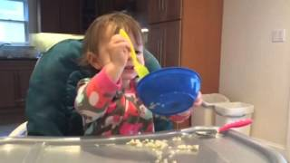 16 month old eating by herself
