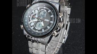 Skmei 0993 Double Time Men Quartz Digital Watch 3ATM Waterproof with Date Week Stainless Steel Band