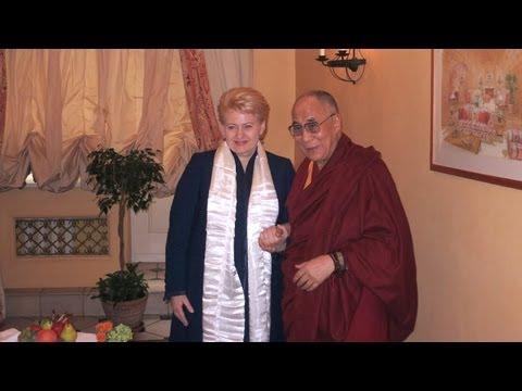 His Holiness the Dalai Lama with Lithuanian President Dalia Grybauskaite