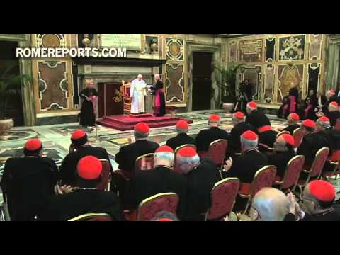 Pope Francis greets all cardinals