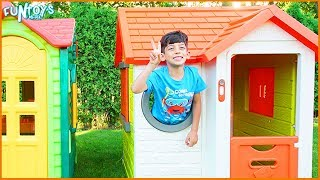 Jason Pretend Sell Fruits and Vegetables in Playhouse for Kids