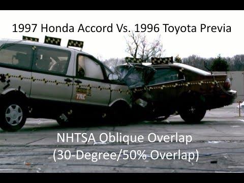 1997 Honda Accord Vs. 1996 Toyota Previa NHTSA Oblique Overlap Crash Test