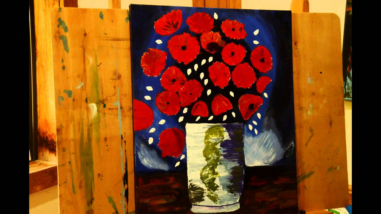 Painting Van Goghs Vase With Red Poppies Youtube