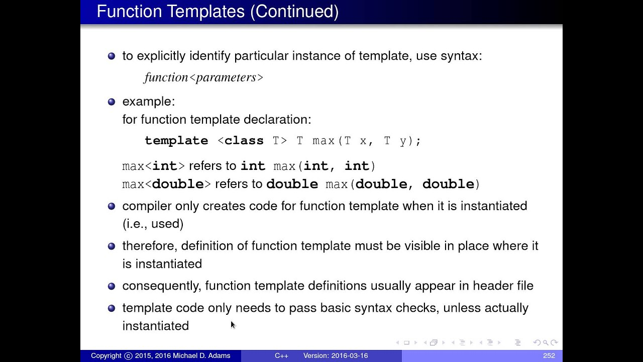 C lecture series templates part 2 of n for What is template function