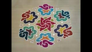 BEAUTIFUL SANGU KOLAM DESIGN WITH 19 TO 10 DOTS/Margazhi kolam with dots/Designs with dots/Muggulu