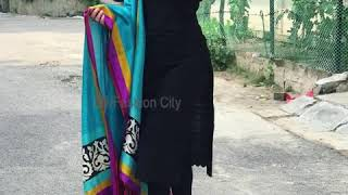 4669eff622 ... Black Suit Designs ideas Plain Black Kurta With Contrast dupatta  Punjabi Black Suit Combination 2019