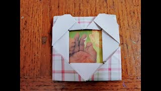How to make a paper photo frame with heart ll Origami photo frame ll Paper craft