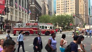 FDNY LADDER 24 RESPONDING ON WEST 34TH STREET IN THE MIDTOWN AREA OF MANHATTAN IN NEW YORK CITY.