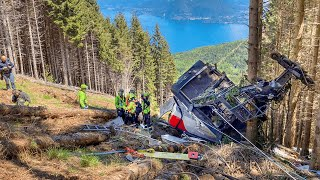 video: Fourteen people dead and a child badly injured as cable car crashes in Italy