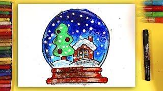 Снежный шар / Как нарисовать Елку и Дом в стеклянном шаре на Новый год Рыба кит