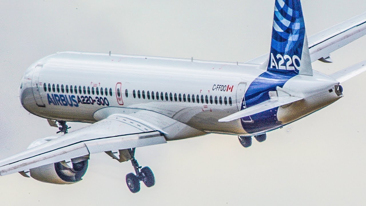 New Airbus A220 Bombardier Cs300 Departure Airshow