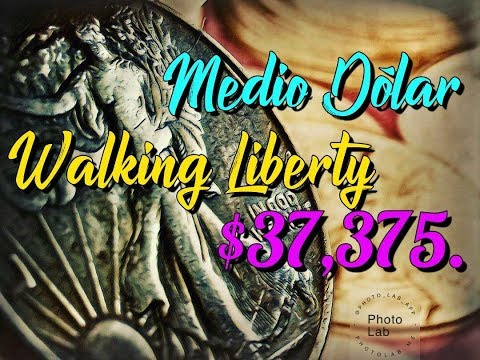 Medio Dólar Walking Liberty - $37,375. Dólares