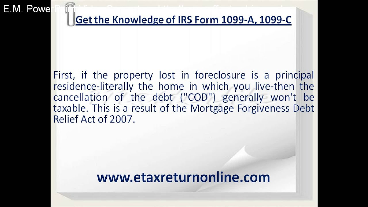 Knowledge Of Irs Form 1099 A 1099 C Youtube