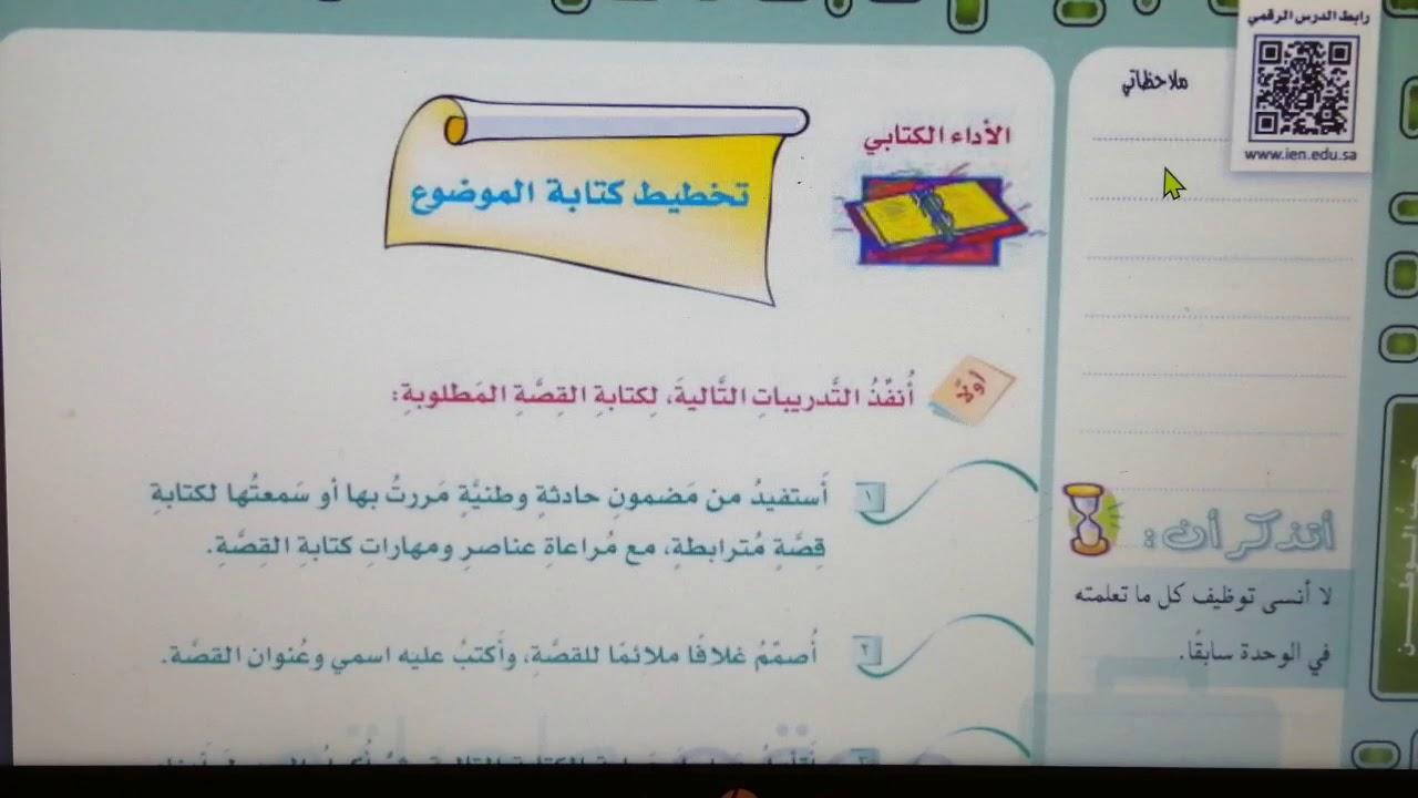 درس : تخطيط كتابة موضوع. للص� الثاني والثالث المتوسط ال�صل الدراسي الثاني حل كتاب لغتي