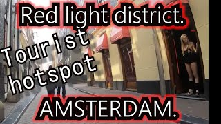 "4K. Amsterdam tourist area ""Red Light District"".  Over de Wallen. Bike cam."