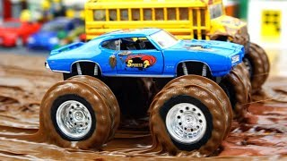 Monster Trucks in the Mud Bogging and Water Video For Kids