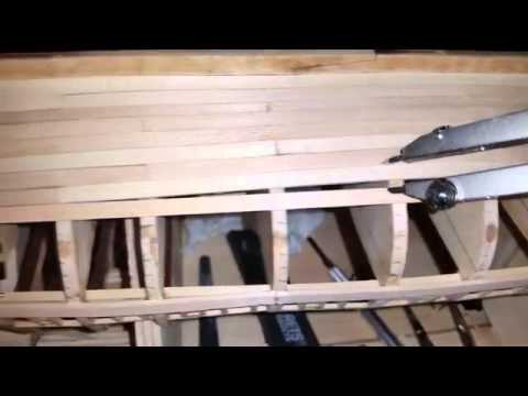 Wooden Model Ship Planking Pt 2 - YouTube