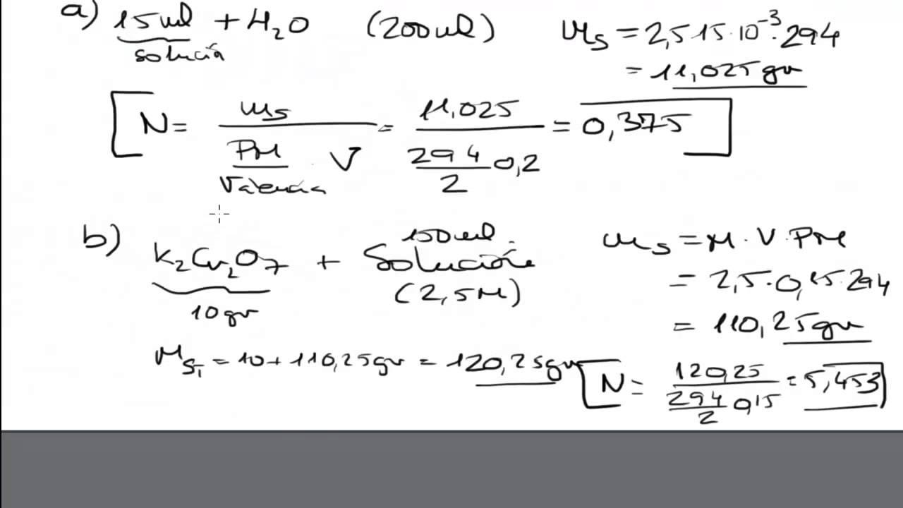 Molaridad y Normalidad de una Solución. Disoluciones Química ...