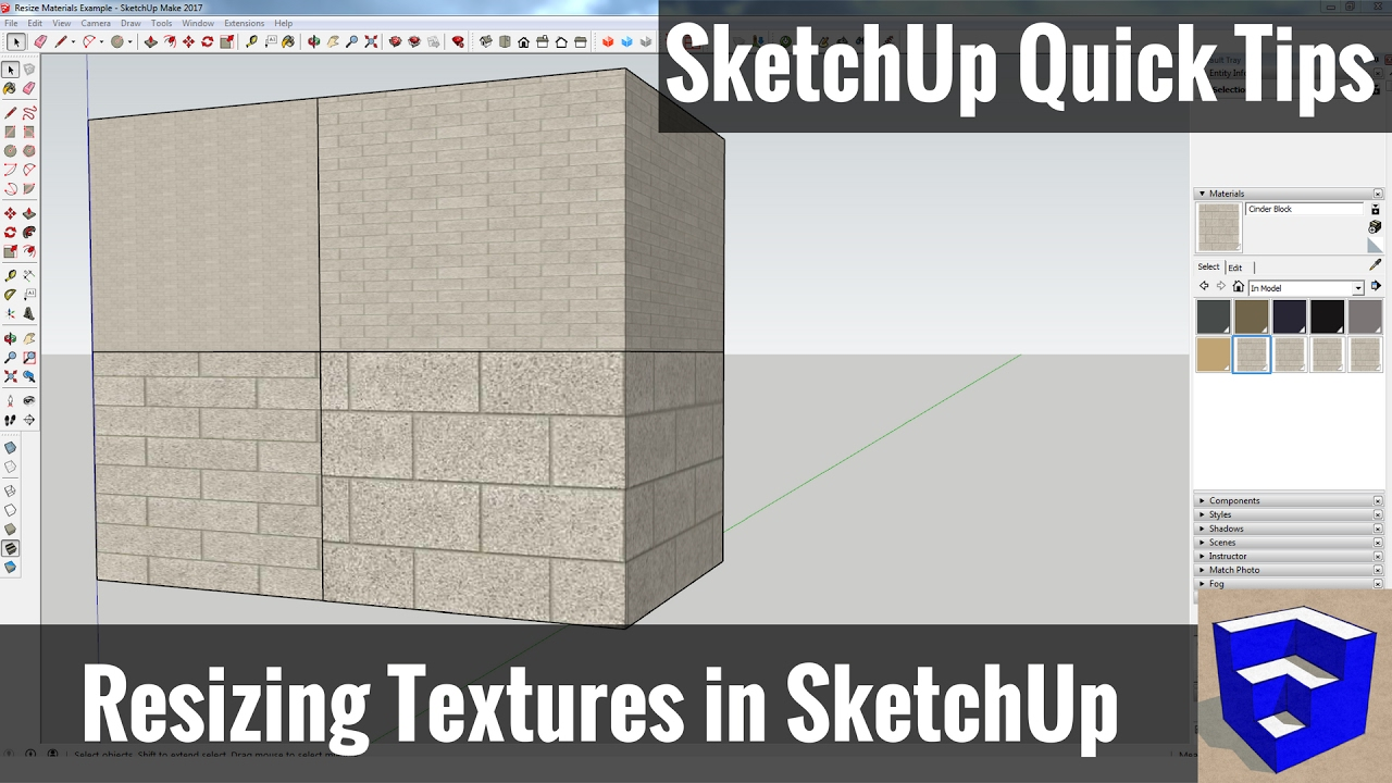 Resizing Textures and Materials in SketchUp - SketchUp Quick Tips - YouTube