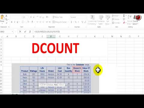 how to use Dcount function in excel to count entire database in one cick