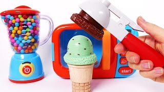 Ice Cream Cones and Microwave Playset for Children Learn Colors