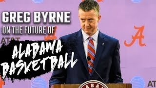 Greg Byrne addresses media during basketball coaching search