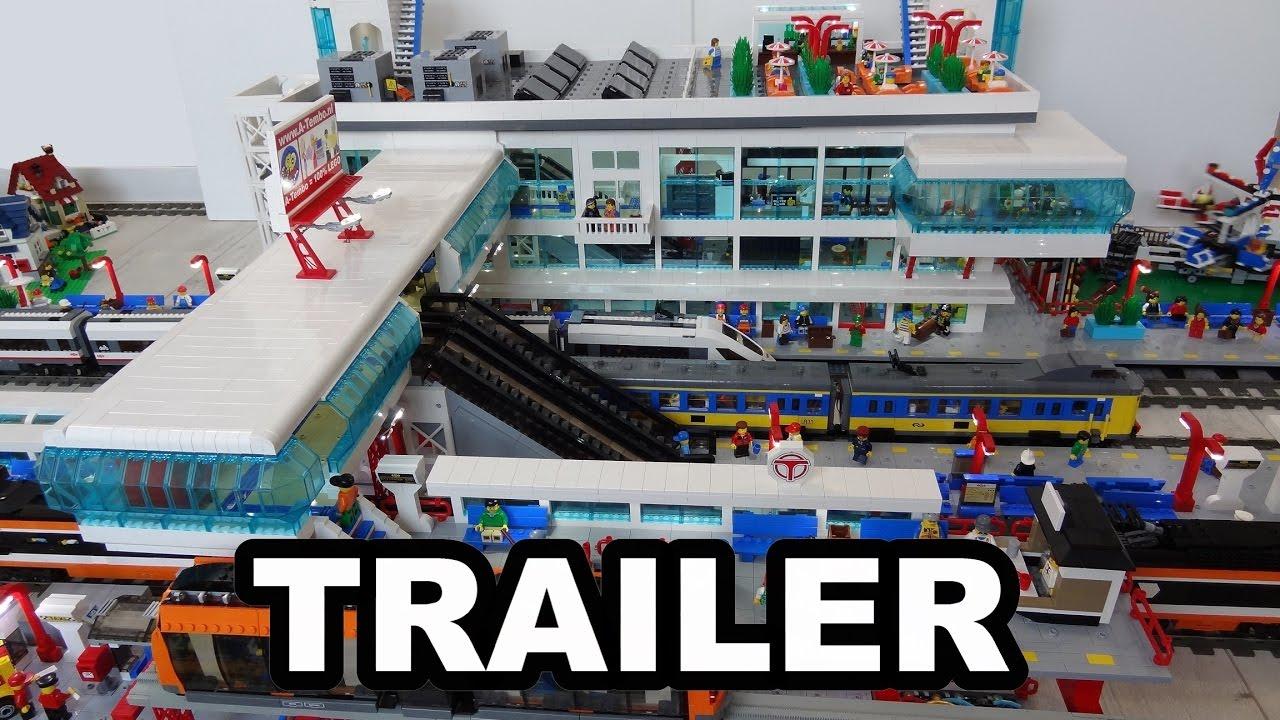 Huge Lego Train Station Moc Trailer Video Youtube