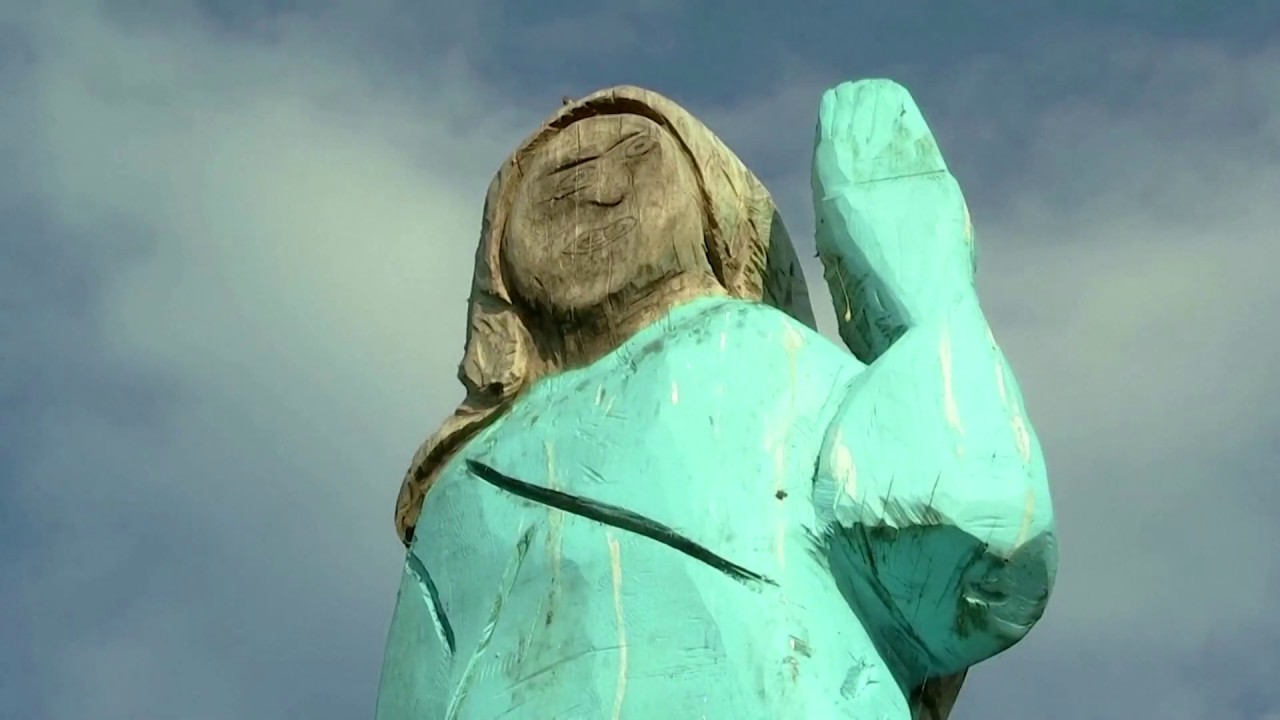 U S First Lady Melania Trump Statue Set On Fire In Slovenia Youtube