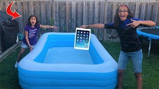 kids Ipad In The Swimming Pool Prank!! funny sisters video