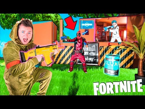 Fortnite BOX FORT Vs DEADPOOL! Breaking Into DeadPools Vault - Nerf Battle IRL