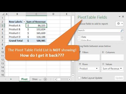 pivot table field list mac