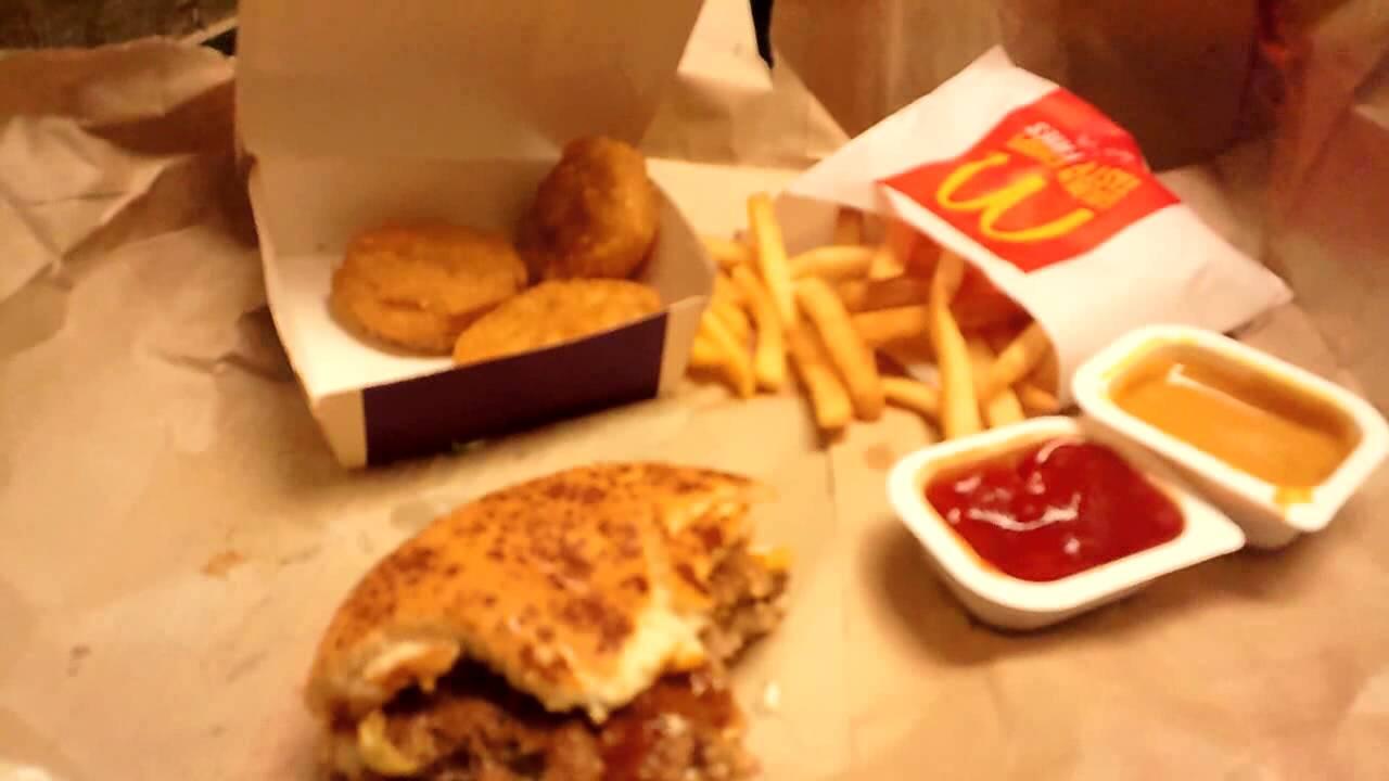 asmr eating mcdonald's loco moco burger  youtube