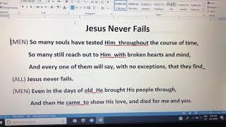 Jesus Never Fails Samsen minus one