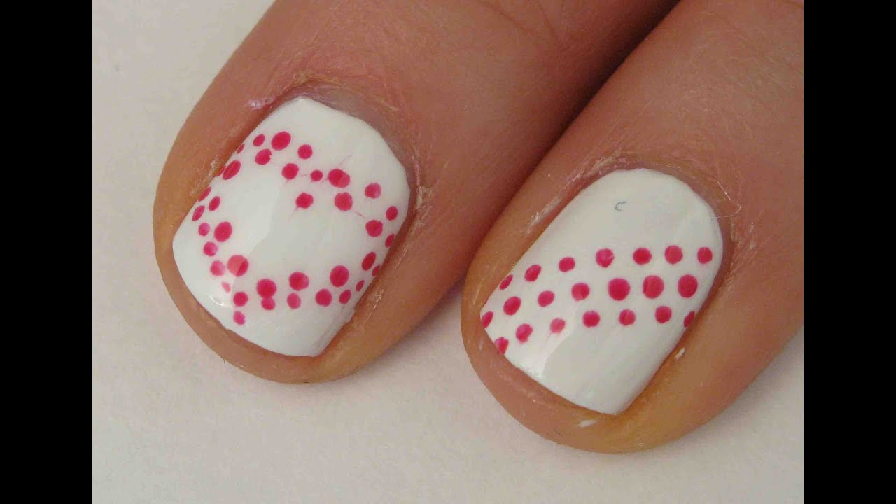 Easy Valentines Day Nail Art Tutorial - YouTube
