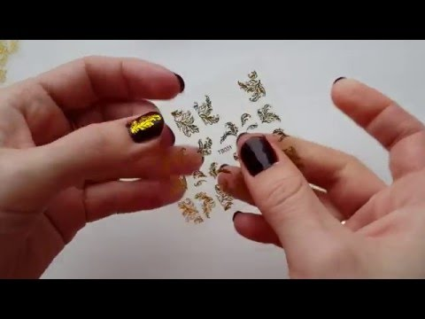 Клеим китайские наклейки на ногти!!!