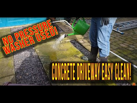 How to clean a concrete drive with no power washer - soft-washing - Sodium Hypochlorite - Hypo
